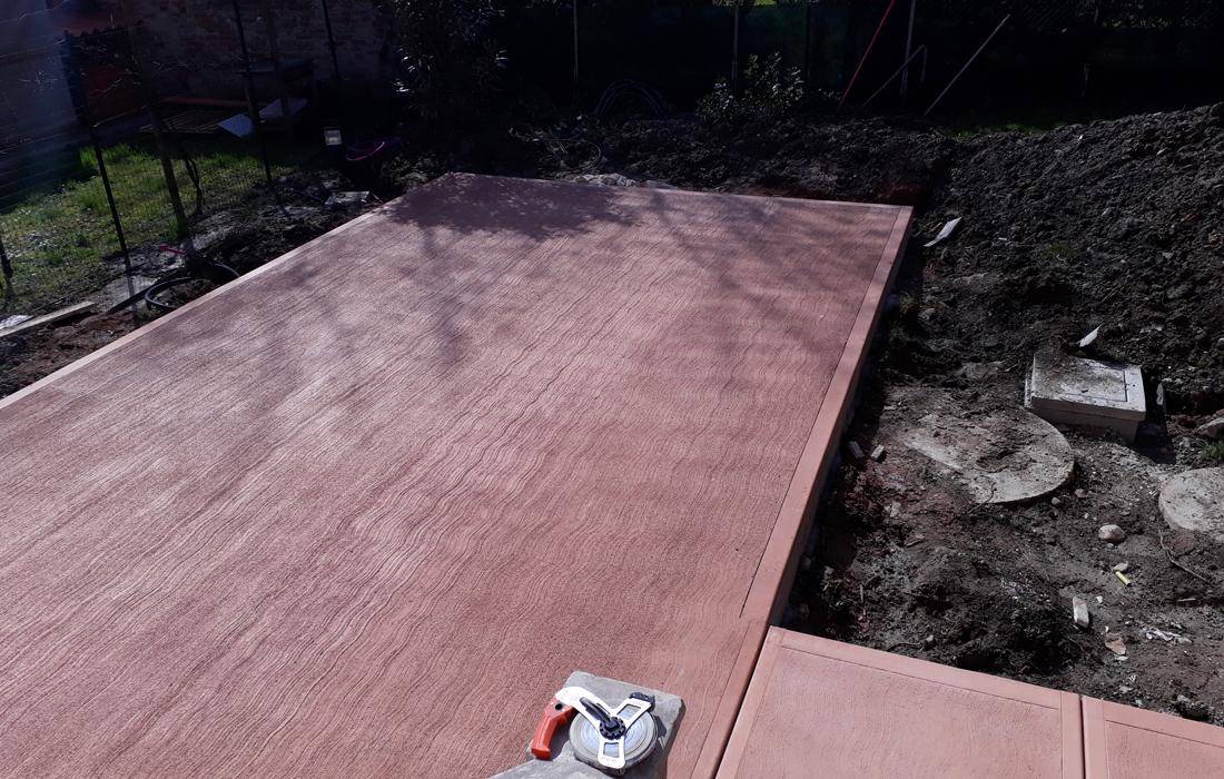 pavimentazione pettinato rosso